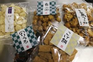 柚子しぐれ、鬼山椒、京つくね、こげ餅にのりうるといったおかきイロイロです!